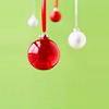 head_elf: red and white christmas bulbs against a soft green background (christmas bulbs)