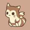 outstretched: A chibified cute furret on a brown backround (SASO ♥ [ushioi] aesthetic)