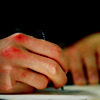 clex_monkie89: Close-up of Sam Winchester's bloody, bruised hands, writing (Writing - Sam's HANDS)