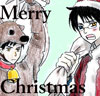zlabya: Watanuki in a Santa suit with a scowl on his face; Doumeki in a reindeer suit. (DouWata Xmas)