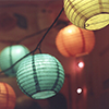 serpentine: several lit paper lanterns (Other Worlds - Colored Paper Lanterns)