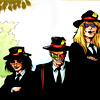 hark: Yelana, Spider and Shannon from Transmet. All are wearing black suits, old-style journalist hats, and malicious smiles. (monstering)