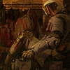 hokuton_punch: Picture of someone in space marine armor, seated, reaching into an ammo box. (marathon marine at bloody rest)
