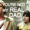 mary: A picture of the Fifth Doctor and Adric from Doctor Who with 'you're not my read dad' written on it. (adric five)
