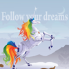 "tangyabominy: A serious-looking image of unicorn from Robot Unicorn Attack, standing on a cliff. Text: ""Follow your dreams"". (follow your dreams)"