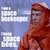 "kayloulee: ST: TOS Spock in an orange jumpsuit like a beekeeper ""I am a space beekeeper.I keep space bees"" (Default)"