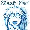 chomiji: Mibu no Shinrei (from Samurai Deeper Kyo by Akimine Kamijyo) as a child, grinning, with the caption Thank You (Shinrei-chan-thanks)