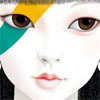 ninetydegrees: Drawing: a girl's pale face, with a yellow and green stripe over her right eye (Default)