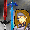 hylian_shadow: sprite portrait of me with two swords in the background (Link - battle ready)