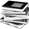 alexseanchai: stack of books in black and white (books 4)
