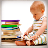 alexseanchai: baby reading book, with stack of other books (books 5)