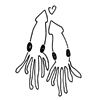 sunspot: two drawn squids who are sweet on each other (squids in love)