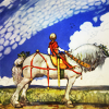turlough: young man on big dappled grey horse,  art by John Bauer ((other) ut i vida världen)
