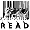 zeborah: Zebra against a barcode background, walking on the word READ (read)