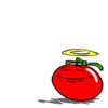 allangtegek: a tomato (the symbol for the dutch socialist party, in place of the rose) trying to look innocent of any wrongdoing (*innocent*)