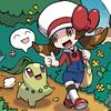 firebrand164: A Pokemon trainer and her Chikorita (Chikorita, Happy, Johto, Pokemon)