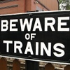 loganberrybunny: Beware of Trains sign (Beware of Trains)