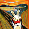 "outlineofash: Parody of Munch's ""The Scream"" painting, with a raving rabbid inserted in place of the original figure. (Sundry - Rabbid Munch)"