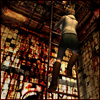 red_eft: Heather Mason climbs a ladder in a nightmare world (otherworld descent)
