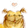 annotated_em: Cartoon pug with a heart over its head. (Pug)