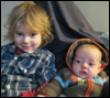 metawidget: Oscar and Vivien on a couch (Oscar 2.25 years, Vivien 4 mos) (kids)