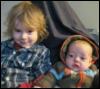 metawidget: Oscar and Vivien on a couch (Oscar 2.25 years, Vivien 4 mos) (kids, oscar and vivien)