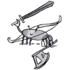 misskat: A cheerfully smug crab holding a bow, a sword, and an axe. (Smug crab)