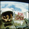 lannamichaels: Astronaut Dale Gardner holds up For Sale sign after EVA. (0)