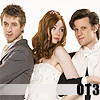 gavagai: Rory Williams, Amy Pond and the Eleventh Doctor in wedding clothes; text OT3 (eleven/amy/rory ot3)