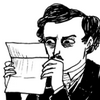 sixtylilies: edgar allen poe examining a letter suspiciously. (what am i looking at)