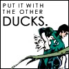 "themeletor: green lantern hal jordan carrying a duck, text: ""put it with the other ducks"" (ducks in a row)"