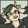 turtlesoup: a green-haired girl in a collared shirt & vest holds her fingers up to her head like devil horns (goodness knows - life on a small scale)