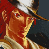 szzzt: Reno, in a snappy fedora, squints down the barrel of his gun. (made man reno)