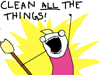 """littlemousling: Cartoon woman holding broom, saying """"Clean all the things!"""" (clean yes)"""