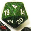 woggy: A green-and-black speckled d20 (d20)