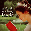 "apollymi: Sarah reading a book, text reads ""can't talk reading fanfic"" (Labyrinth**Sarah: Can't talk - Fanfic!)"
