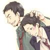 hostilecrayon: Dojima with a slightly blushing Adachi. (Dojima/Adachi)