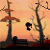 elf: Silhoette of autumn scene; one glitch sitting on a park bench, another leaping in the air (Glitch - Autumn Day)