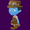 buffarama: Glitch Avatar from game. blue smurfette-looking female with victorian/steampunk clothing and adventurer's hat over updo. (glitch)