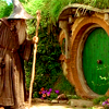 chibimuse: gandalf bending to knock on the door to bag end (bag end)