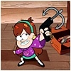 chibimuse: mabel from gravity falls pointing a grappling gun (bat'leth)