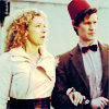 lindes: River and fez-wearing Doctor (DW: River/Eleven arm in arm)