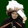 jlh: Johnny Carson's character, Carnac the Magnificent, holding an envelope to his forehead to read its contents (gents: Carnac the Magnificent)