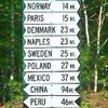jlh: a sign in Lynchville, ME that shows distance to various Maine towns named after countries/cities (Paris, Norway, etc.) (Maine sign)