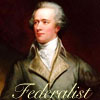 "jlh: Alexander Hamilton, with a banner that says ""Federalist"" (gents: Alexander Hamilton)"