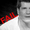 "jlh: Simon Cowell, with the word ""FAIL (gents: Simon fail)"