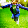 timeasmymeasure: a little girl pictured mid-jump (stock: jumping for joy)