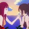 mikogalatea: Saki and Maria from Shin Sekai Yori. Saki has Maria's hand in her own and is kissing her fingers. (Saki/Maria)