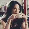 monanotlisa: Joan Watson, drinking coffee at a table and going ORLY? (watson ORLY? - elementary)
