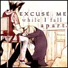 "aquila_black: Text says ""please excuse me while I fall apart"" (Soubi: Inevitable)"